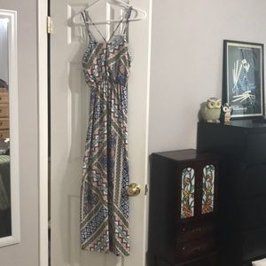 Long floral design straps dress